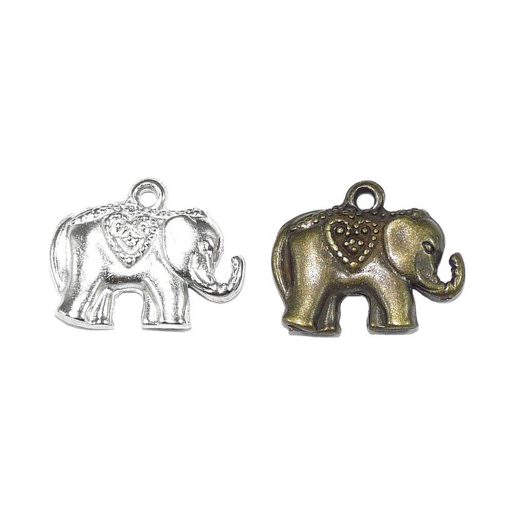 Pingente Elefante de Metal - 17mm  - Nathalia Bijoux®