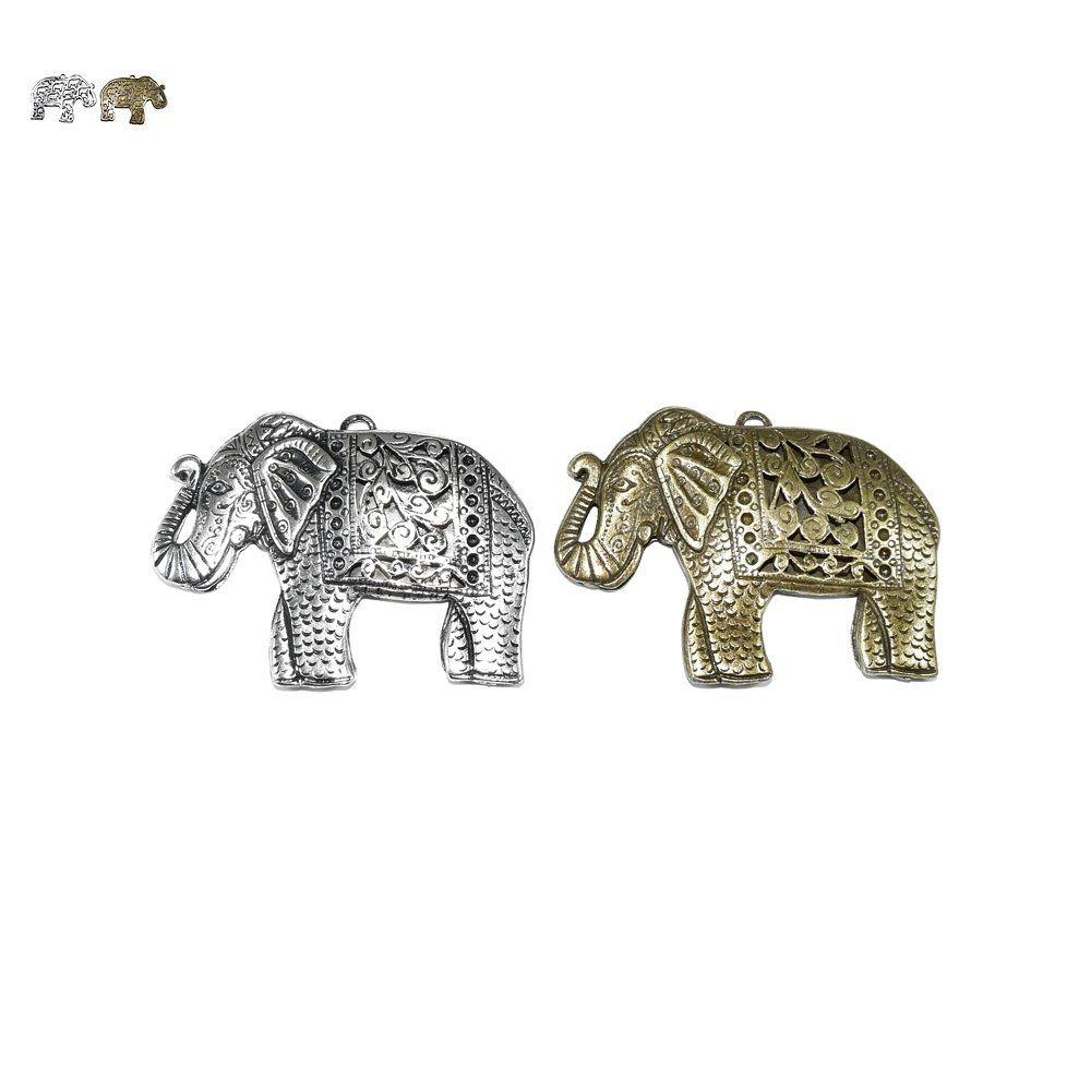 Pingente Elefante de Metal - 51mm  - Nathalia Bijoux®