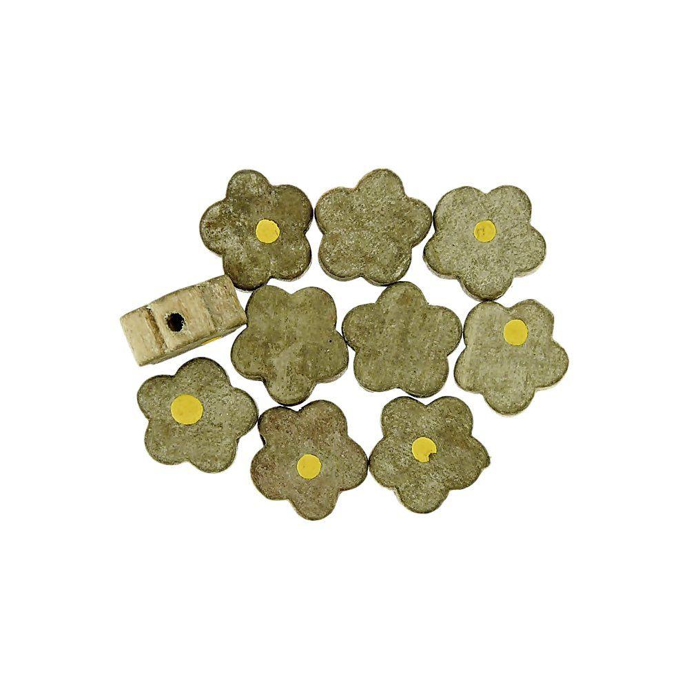 Entremeio Flor de Madeira - 12mm - 10pçs  - Nathalia Bijoux®