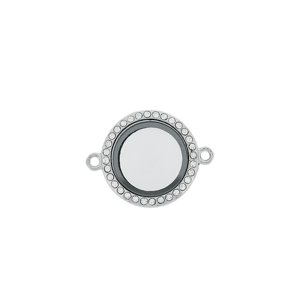 Alongador Relicário de Metal com Strass e Vidro 2 Saídas - 33mm  - Nathalia Bijoux®