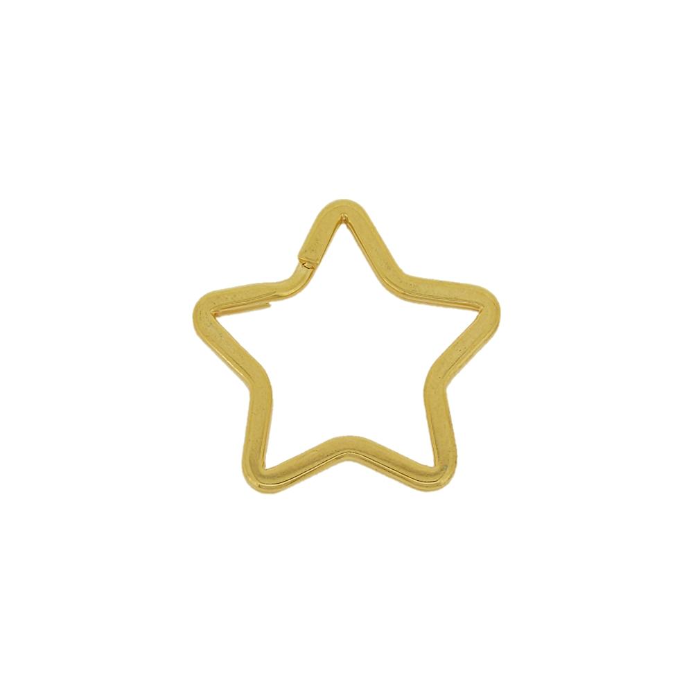 Argola Italiana Estrela para Chaveiro - Dourado - 35mm - 100pçs  - Nathalia Bijoux®