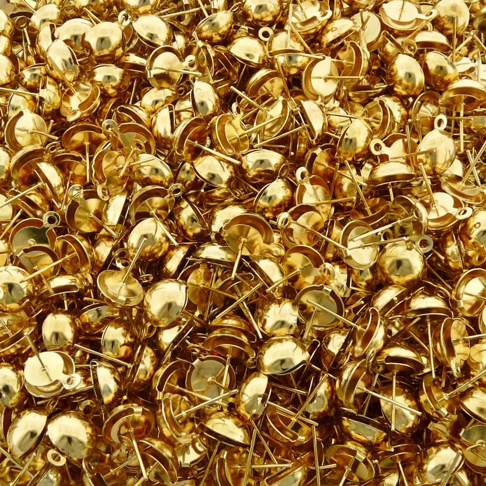 Base para Brinco com 1 Saída - Dourado - 10mm - 100pçs  - Nathalia Bijoux®