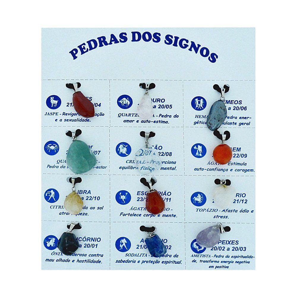 Cartela de Pingente dos Signos de Pedra Natural - 24mm  - Nathalia Bijoux®
