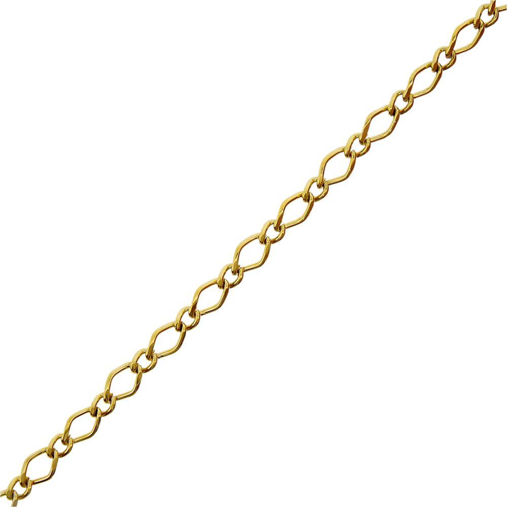 Corrente Dourada - 3mm x 1mm - 1m  - Nathalia Bijoux®