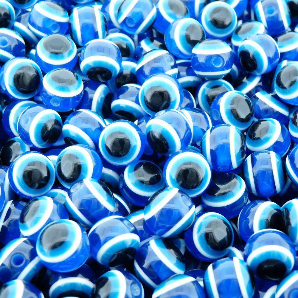 Entremeio Bolinha Olho Grego de Plástico - Azul Royal - 10mm - 100pçs  - Nathalia Bijoux®
