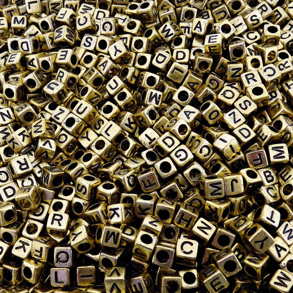 Entremeio Conta com Letras de ABS - Ouro Velho - 6mm - 250g  - Nathalia Bijoux®