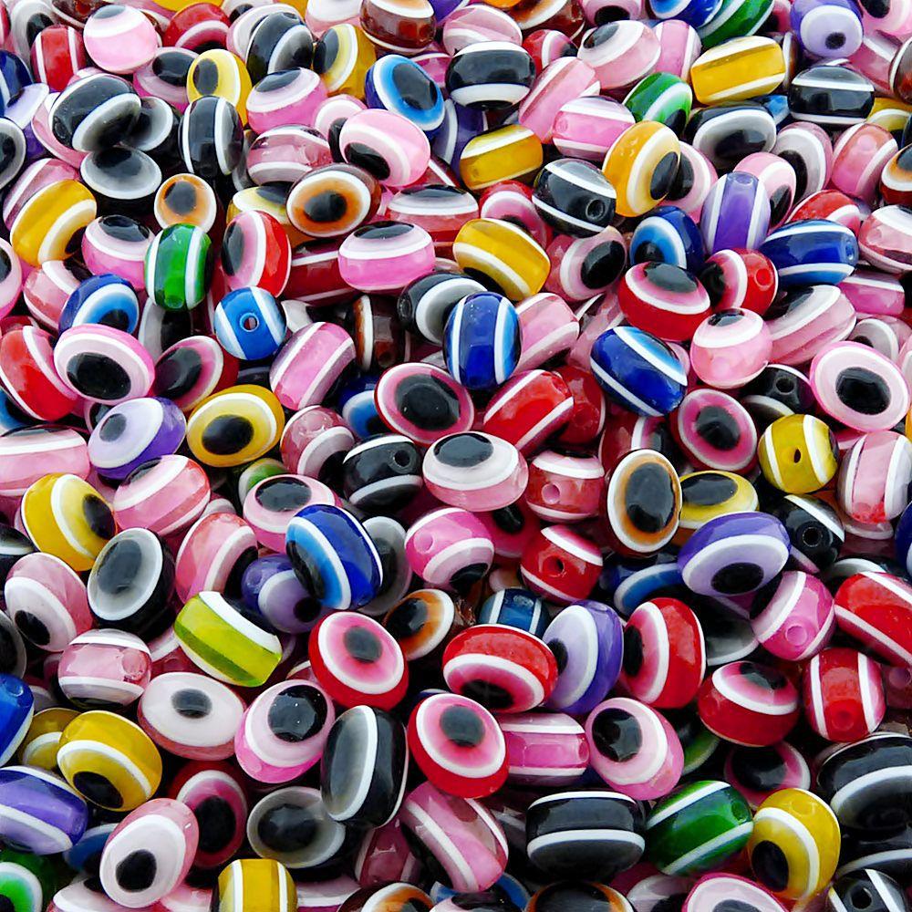 Entremeio Conta Oval Olho Grego de Plástico - Variado - 9mm x 12mm - 100pçs  - Nathalia Bijoux®