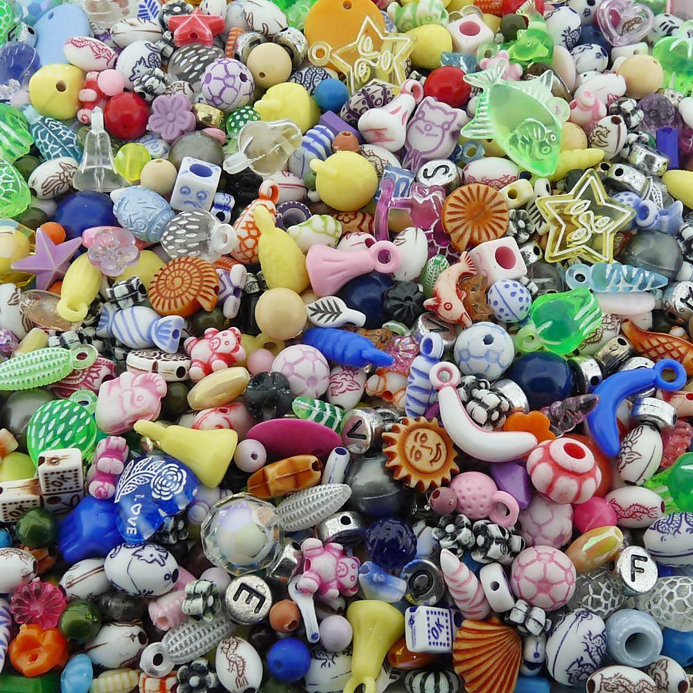 Entremeio Miçanga Infantil de Plástico - Variado - 250g  - Nathalia Bijoux®