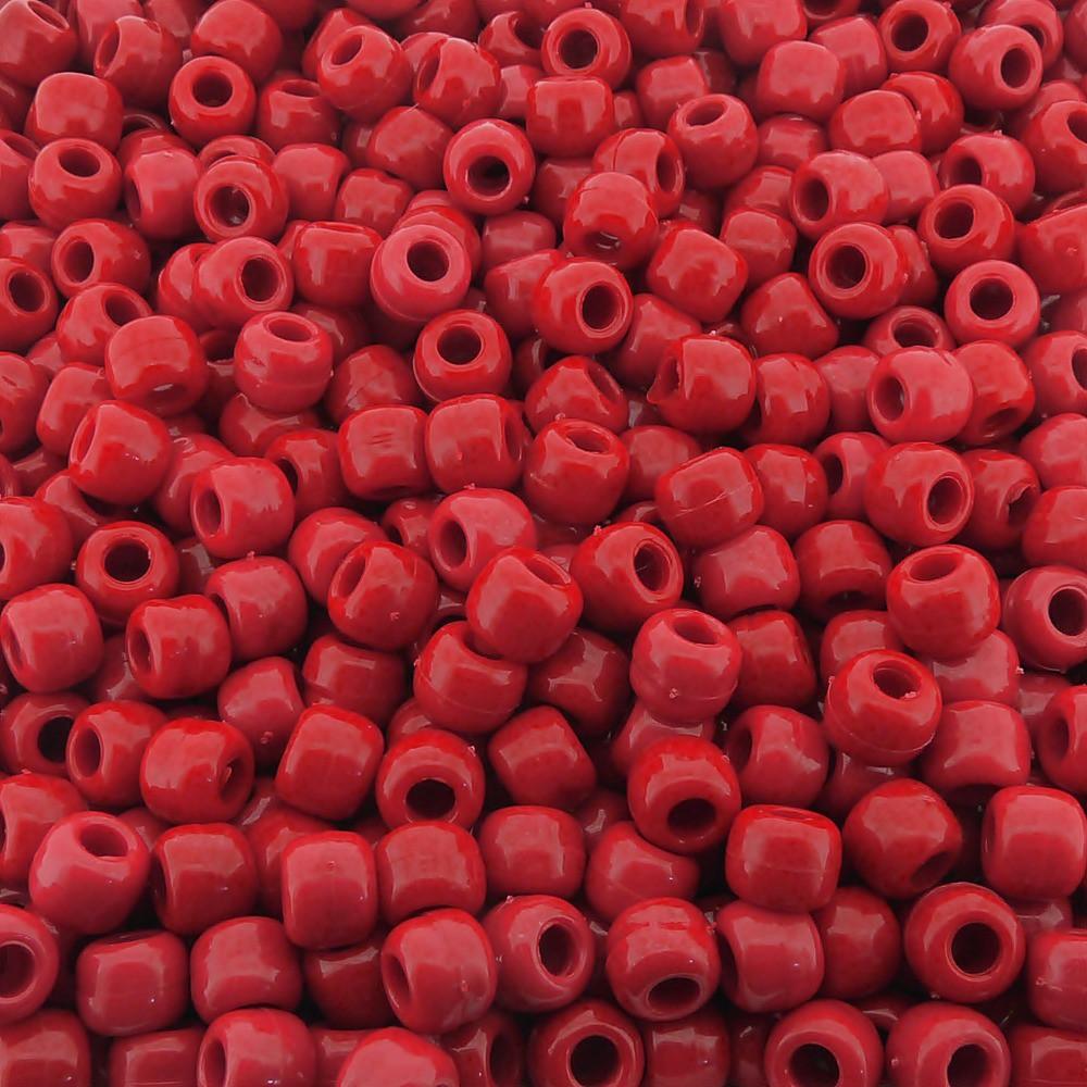 Entremeio Miçangão de Plástico - Vermelho - 8mm - 250g  - Nathalia Bijoux®
