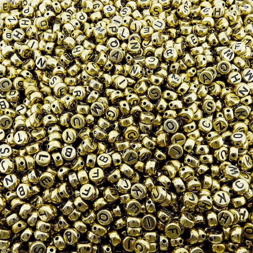 Entremeio Pastilha com Letras de ABS - Dourado com Preto - 7mm - 250g  - Nathalia Bijoux®