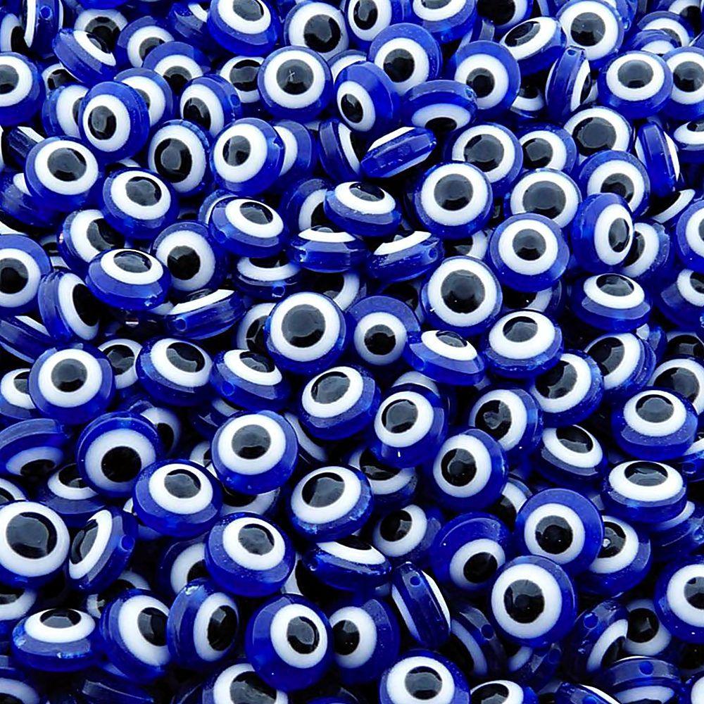 Entremeio Pastilha Olho Grego de Plástico - Azul Royal - 12mm - 100pçs  - Nathalia Bijoux®