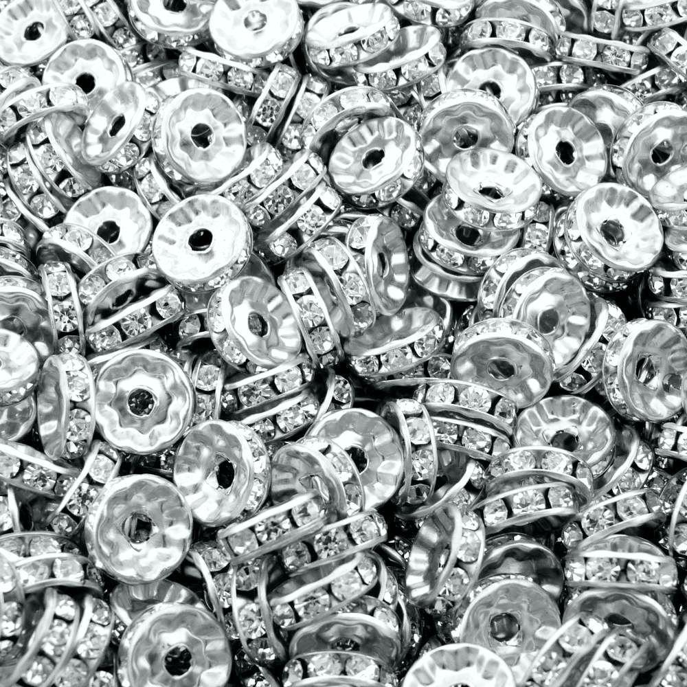 Entremeio Rondelle de Metal com Strass - 10mm - 100pçs  - Nathalia Bijoux®