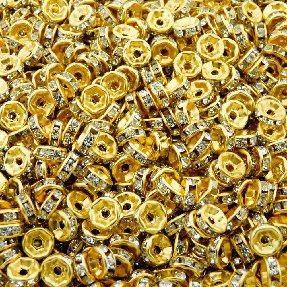 Entremeio Rondelle de Metal com Strass - 6mm - 100pçs  - Nathalia Bijoux®