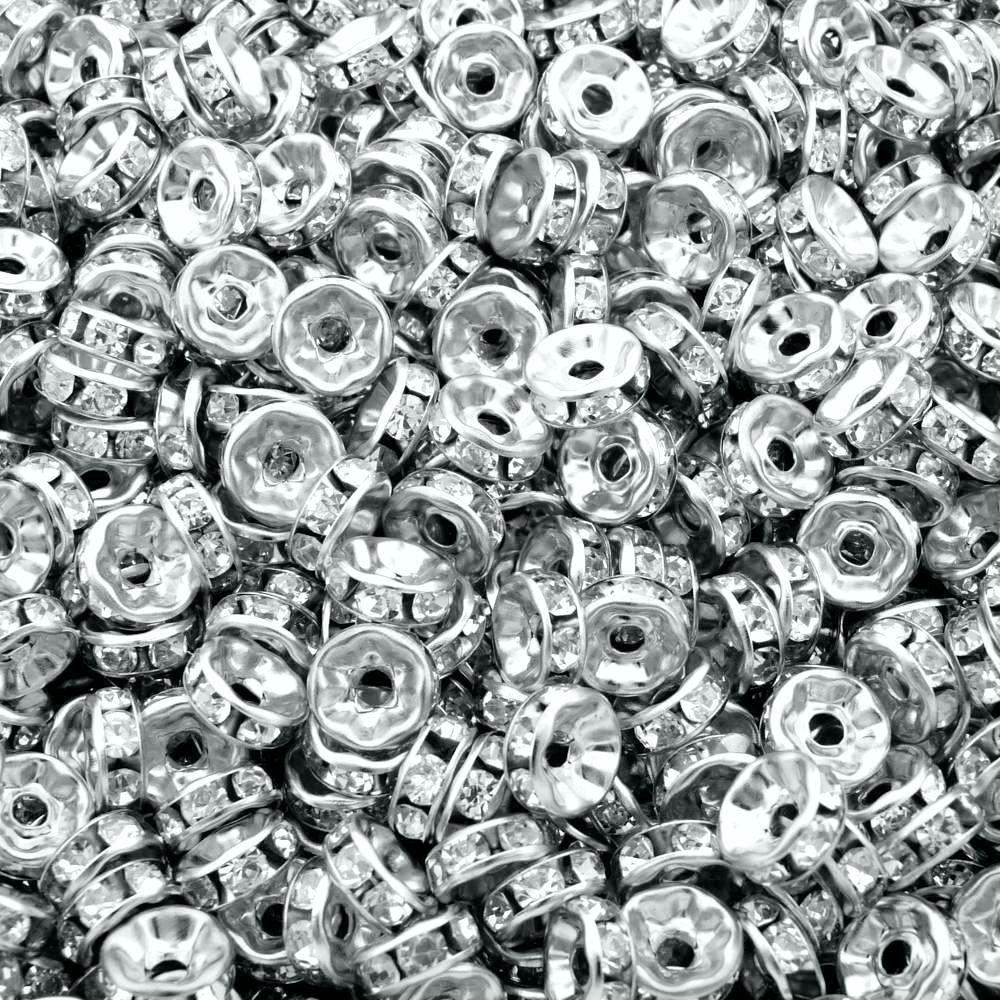 Entremeio Rondelle de Metal com Strass - 8mm - 100pçs  - Nathalia Bijoux®