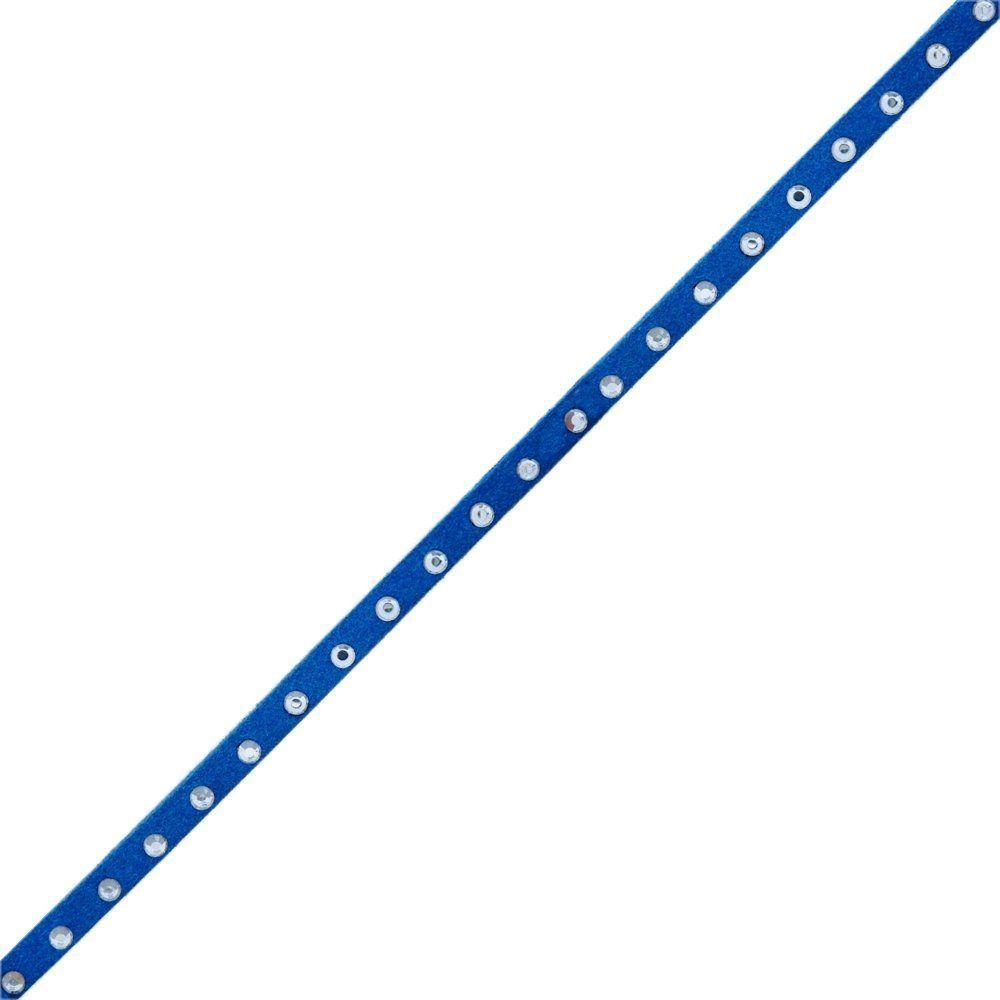 Fio de Camurça - Azul Royal com Strass - 5mm - 100m  - Nathalia Bijoux®