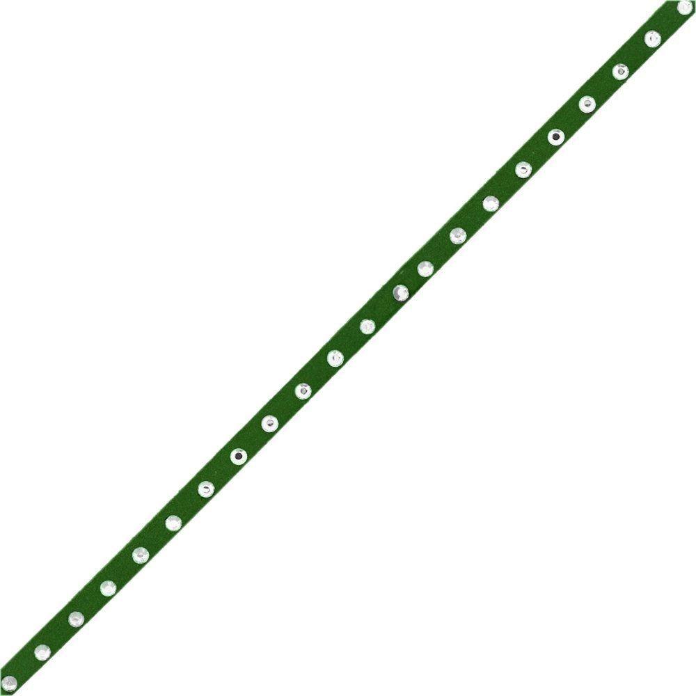 Fio de Camurça - Verde Militar com Strass - 5mm - 100m  - Nathalia Bijoux®