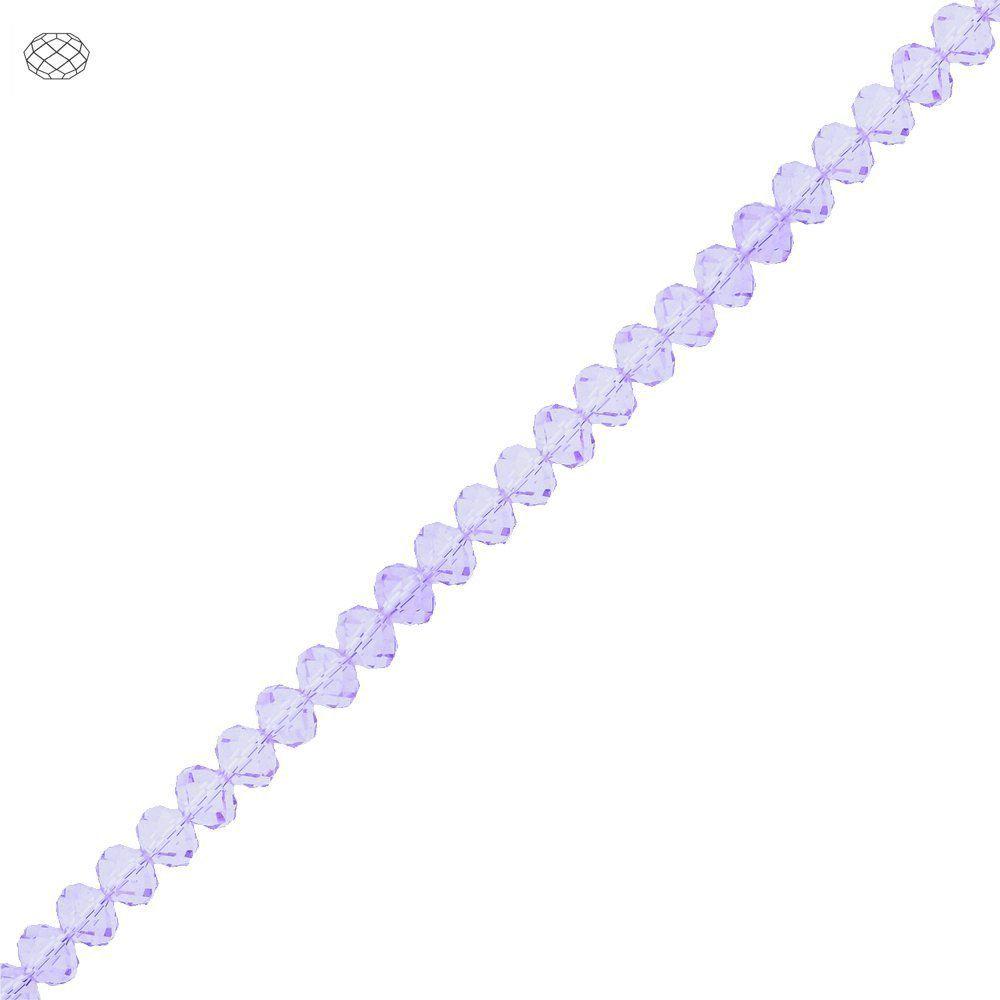 Fio de Contas Facetadas de Cristal - Lilás Translúcido - 6mm  - Nathalia Bijoux®