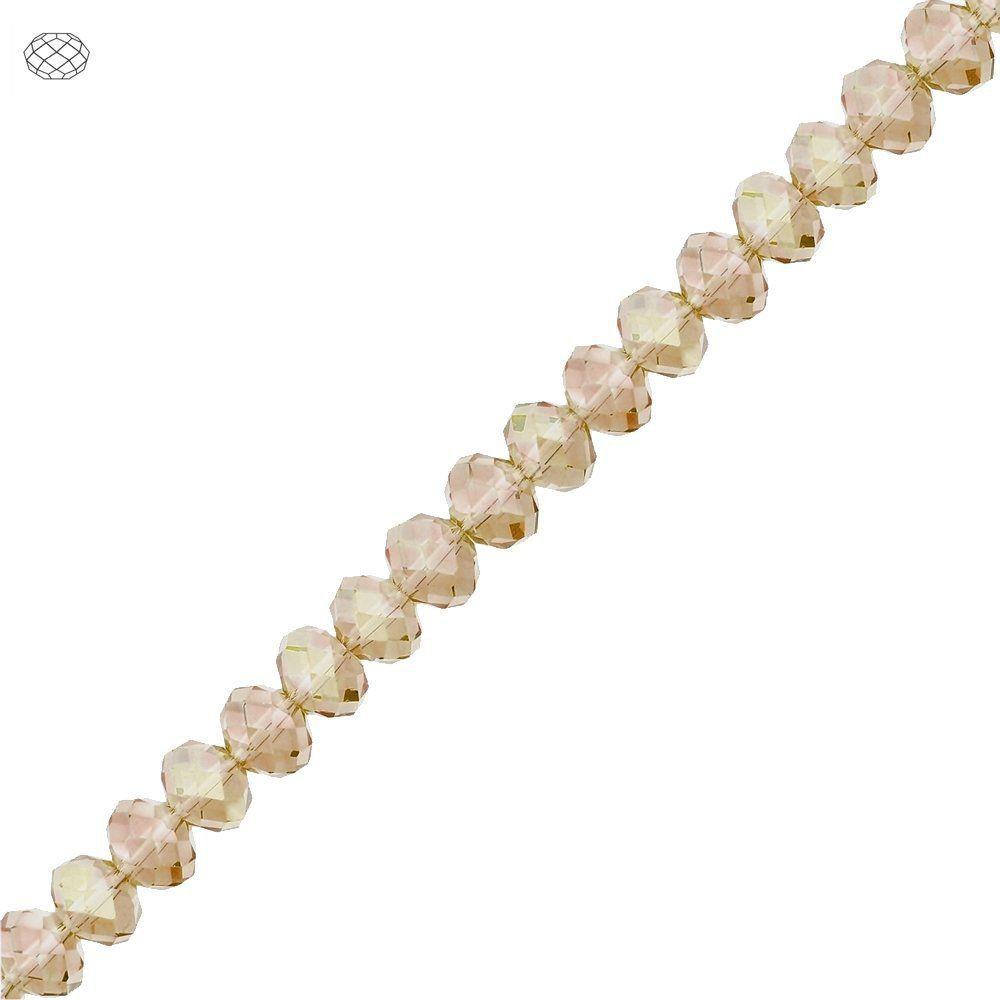 Fio de Contas Facetadas de Cristal - Nude Translúcido Irisado - 8mm  - Nathalia Bijoux®