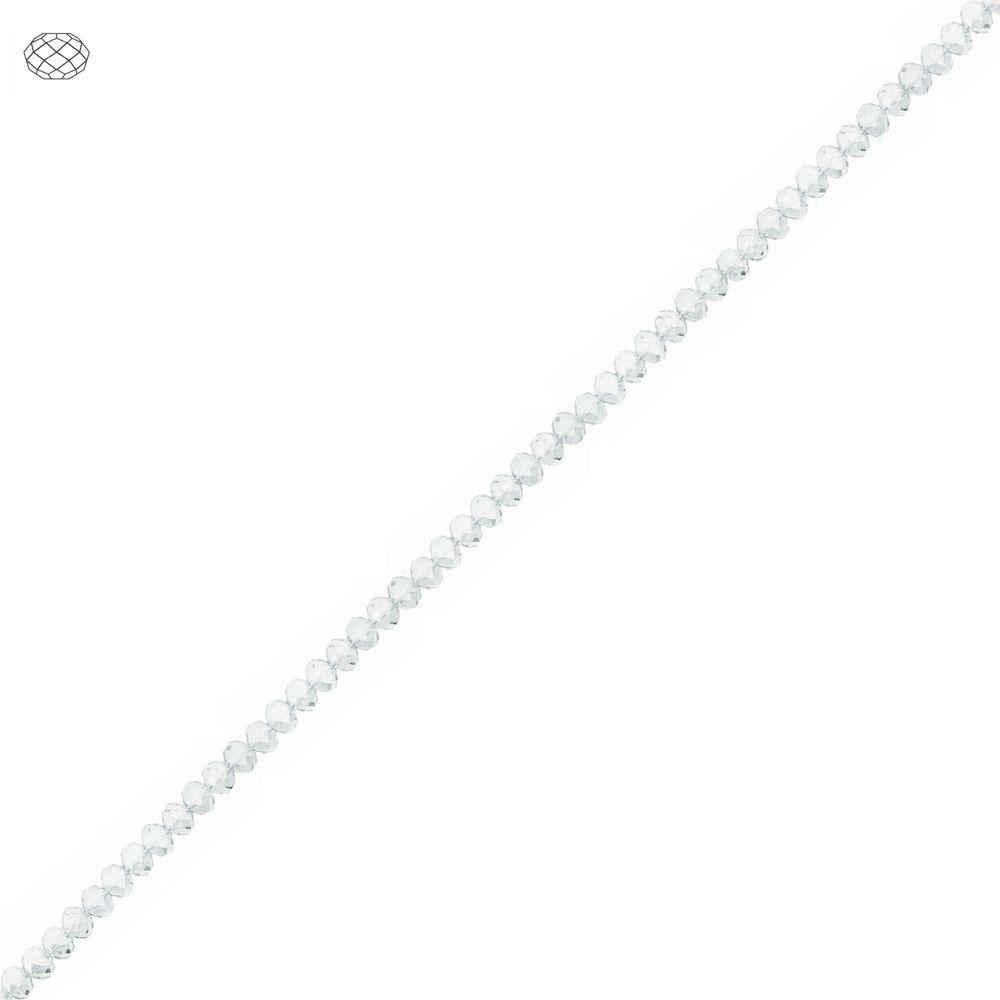 Fio de Contas Facetadas de Cristal - Transparente - 3mm  - Nathalia Bijoux®