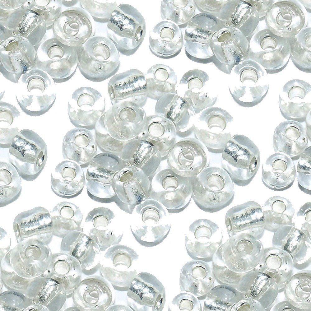 Miçanga 6/0 - Transparente com Prata - 500g  - Nathalia Bijoux®