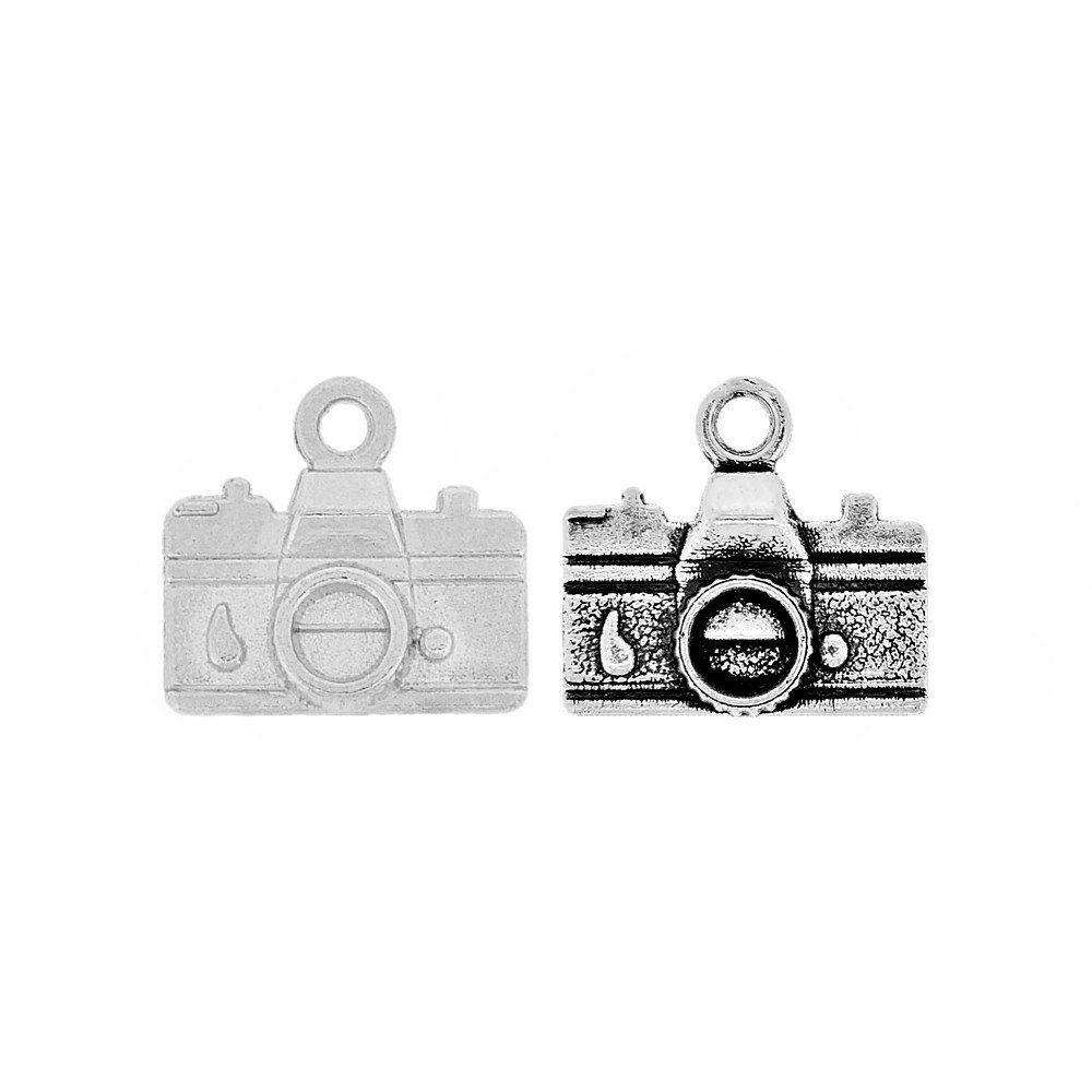 Pingente Câmera Fotográfica de Metal - 14mm  - Nathalia Bijoux®