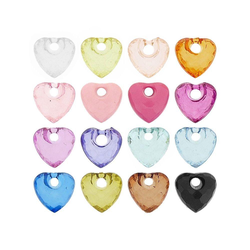 Pingente Coração de Acrílico - 16mm  - Nathalia Bijoux®
