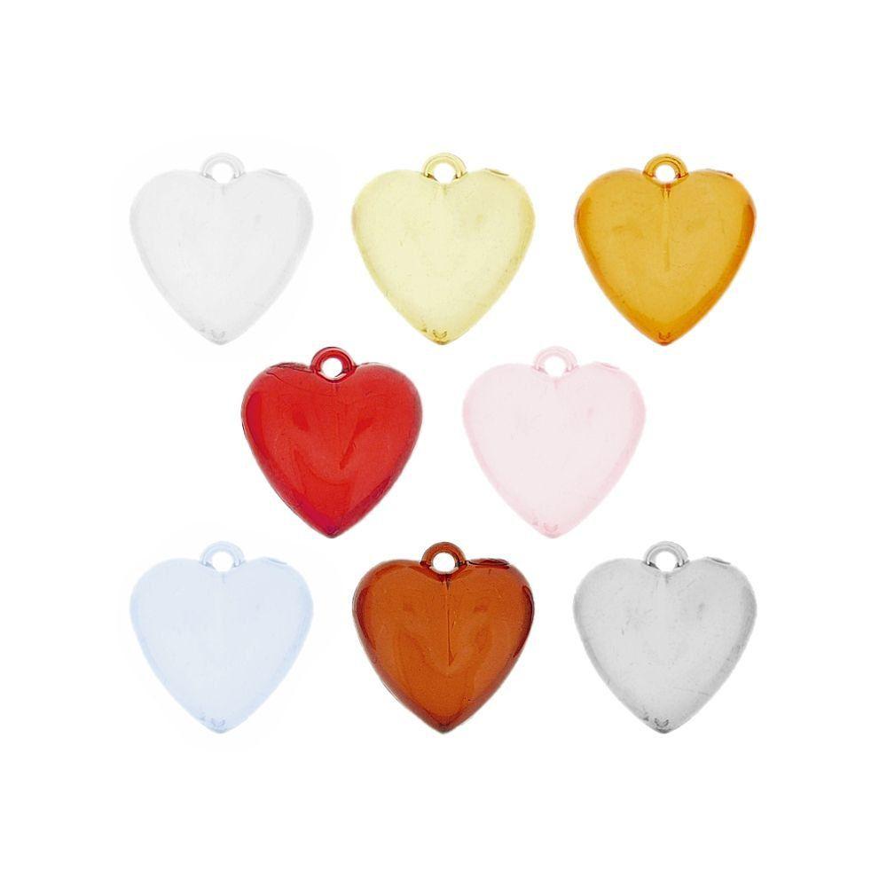 Pingente Coração de Acrílico - 26mm  - Nathalia Bijoux®