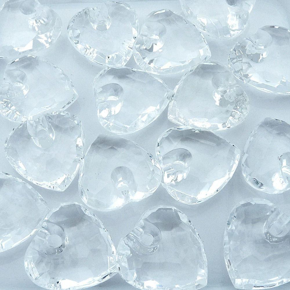 Pingente Coração de Acrílico - Transparente - 30mm - 100pçs  - Nathalia Bijoux®