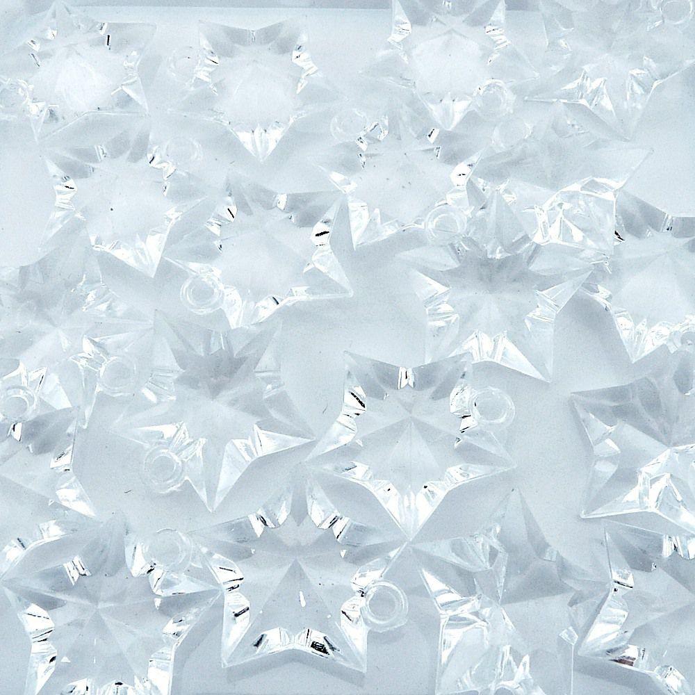 Pingente Estrela de Acrílico - Transparente - 31mm - 100pçs  - Nathalia Bijoux®