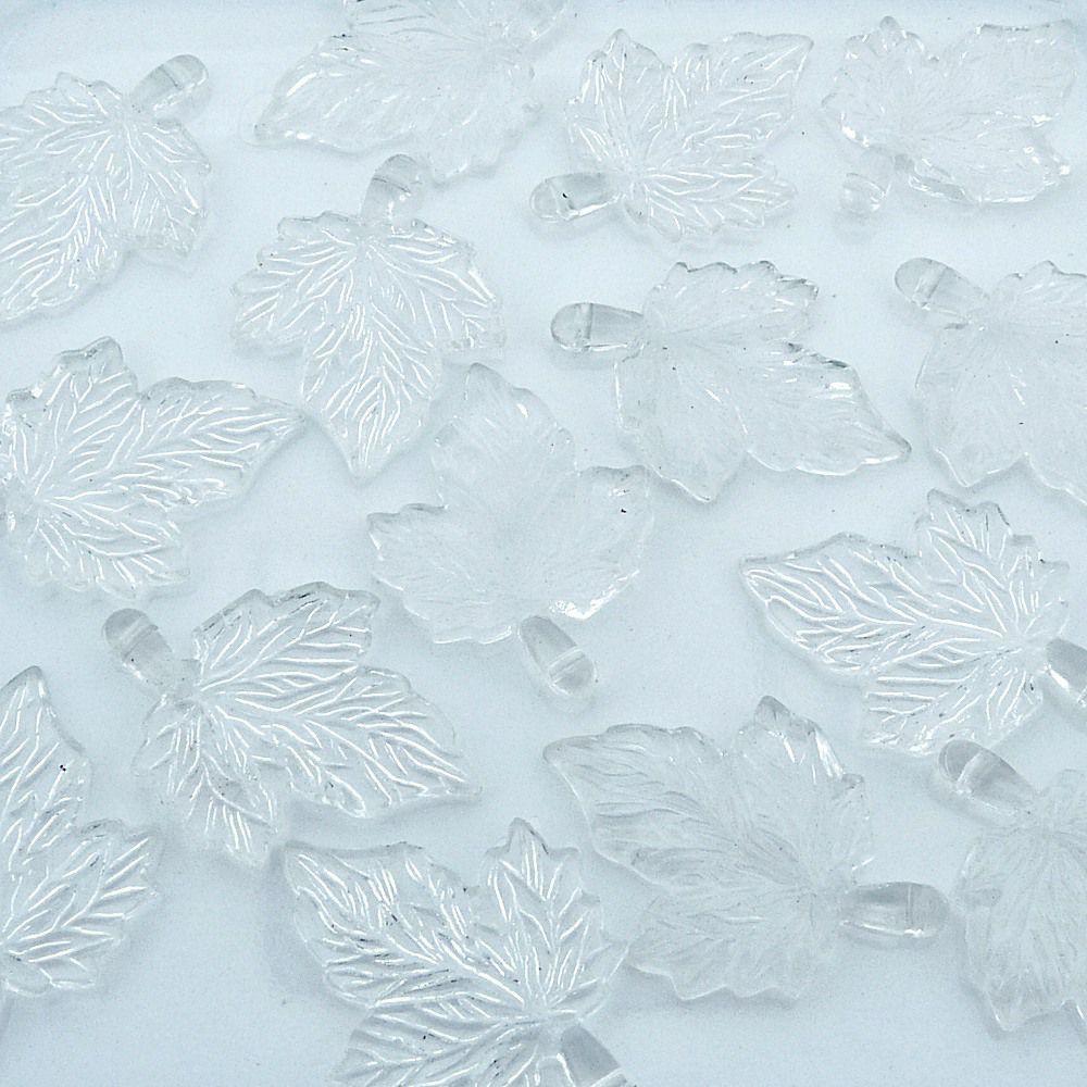 Pingente Folha de Acrílico - Transparente - 35mm - 100pçs  - Nathalia Bijoux®