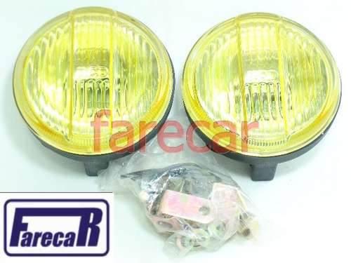 Par Farol Milha Mini Premium Raiado Amarelo Plastico Rc463  - Farecar Comercio