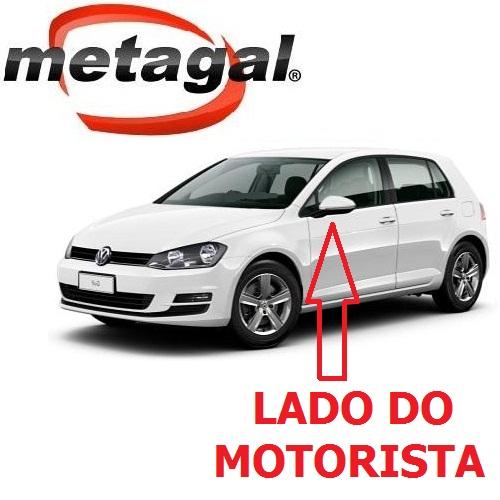 Capa Cobertura do Espelho Retrovisor Lado Esquerdo Pintada na Cor Branco Puro VW Golf 2014 2015 2016 2017 14 15 16 17  - Farecar Comercio