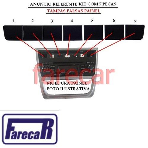 Kit com 7 Tampa Painel central Botao falso Gol G6 Voyage G6 Saveiro G6 2013 2014 2015 13 14 15  - Farecar Comercio