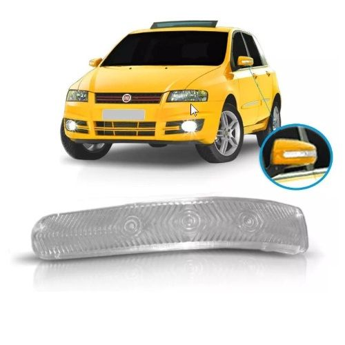 Lente da lanterna de pisca seta do espelho retrovisor lado esquerdo Fiat Stilo 2008 2009 2010 2011 2012  - Farecar Comercio