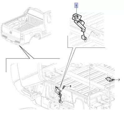 Levantador cabo suporte gancho lingueta trava roda estepe Original 94769182 GM Montana 2004 2005 2006 2007 2008 2009 2010  - Farecar Comercio