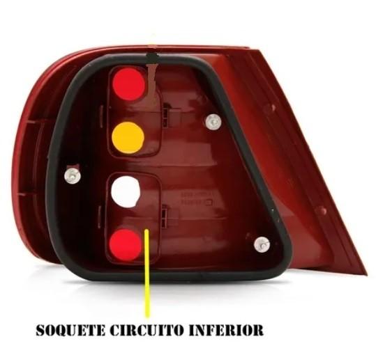 Soquete Circuito Inferior Freio Lanterna Traseira Siena g2 2001 2002 2003 2004 2005 2006 2007 2008  - Farecar Comercio