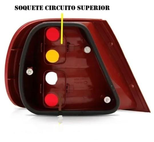 Soquete Circuito superior Lanterna Traseira Siena G2 2001 2002 2003 2004 2005 2006 2007 2008/...  - Farecar Comercio
