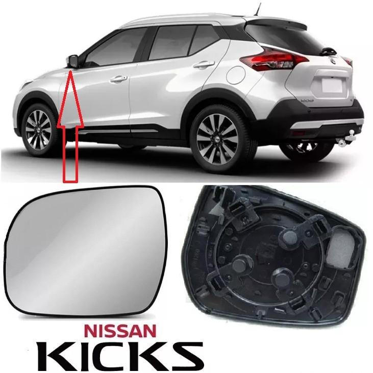 Subconjunto de Lente de Vidro espelhada Com Base para Espelho Retrovisor Esquerdo Nissan Kicks 2016 2017 2018 2019  - Farecar Comercio