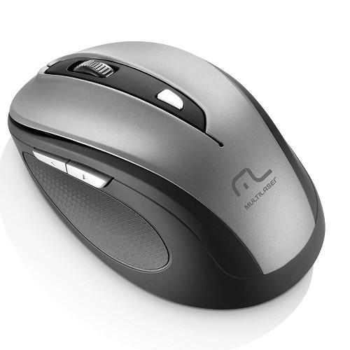 Mouse sem Fio 2.4 GHZ Comfort 6 Botoes Cinza e Preto USB Multilaser MO238