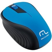 Mouse sem Fio 2.4GHZ Preto e AZUL USB 1200DPI PLUG AND PLAY Multilaser MO215