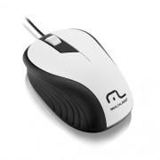 Mouse USB Emborrachado Multilaser MO224 BRANCO/PRETO
