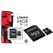 Cartao de Memoria Classe 10 Kingston SDC10G2/64GB Micro SDXC 64GB com Adaptador SD