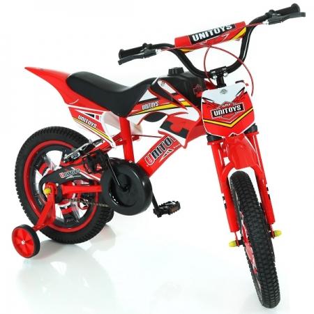 Bicicleta Infantil Bike Moto Vermelha ARO 16 Unitoys 1172