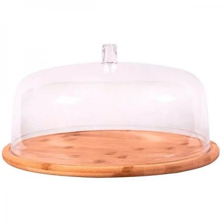 Boleira em Bambu 27,5CM com Cupula Acrilica Yoi 810900200