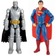 Boneco Batman Armado e Superman Mattel