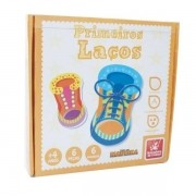 Brinquedo Educativo Primeiros Laços em Madeira Brincadeira de Criança 9244