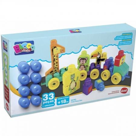 Brinquedo Educativo TREM Puxa Zoo 33 Peças Blocolandia Dismat MK362