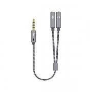 Cabo Adaptador de Audio NYLON Trançado para Fone e Microfone 20CM OEX CE401