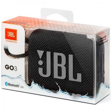 Caixa de Som Bluetooth JBL GO3 IPX7 4.2 W RMS Prova D´água Preto