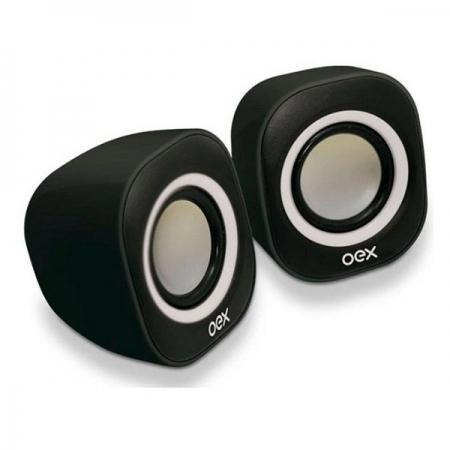 Caixa de Som para PC OEX Round SK100 Preto e Branco